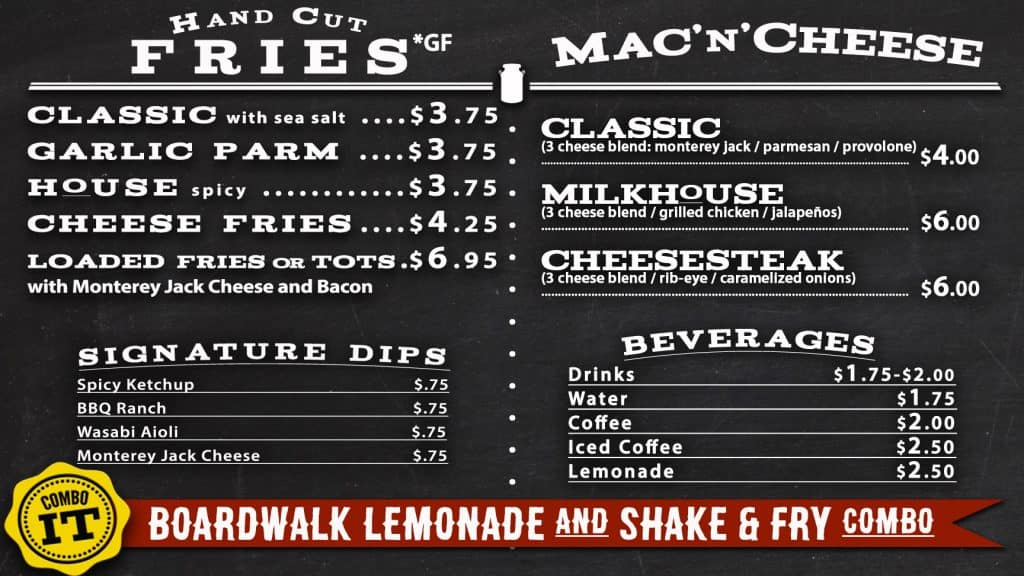 the milk house menu drinks fries