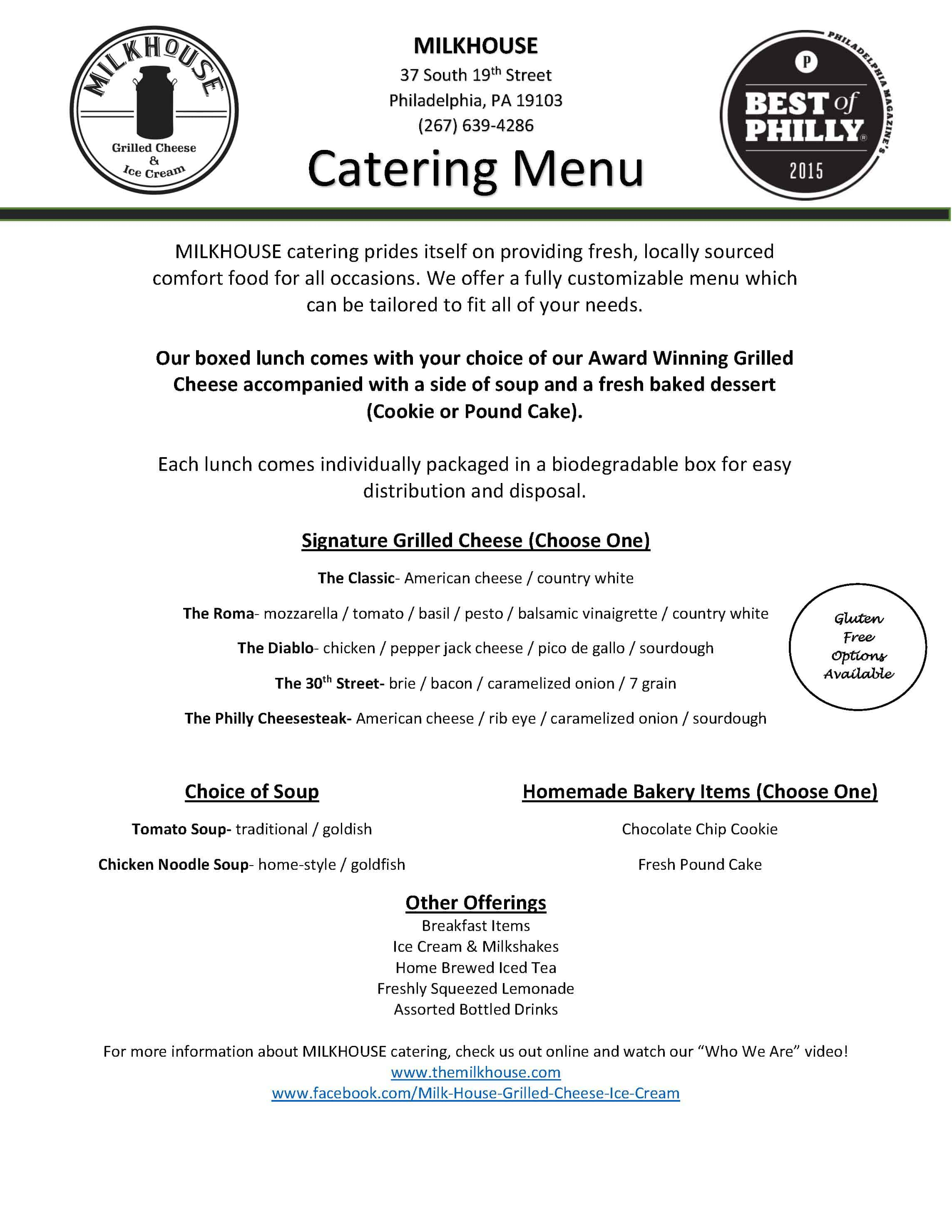 MilkHouse Catering Menu